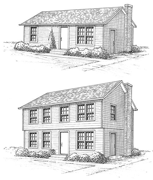 small ranch to colonial plans | When a ranch is made into a two-story, it can look like a brand-new ...