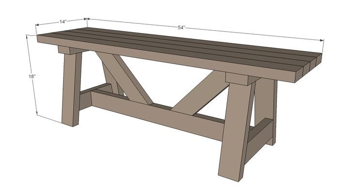 DIY bench made from 5 2x4s!!  Providence Bench  I wonder if I can make this longer without changing anything beside the length of the long boards on top and at the bottom?