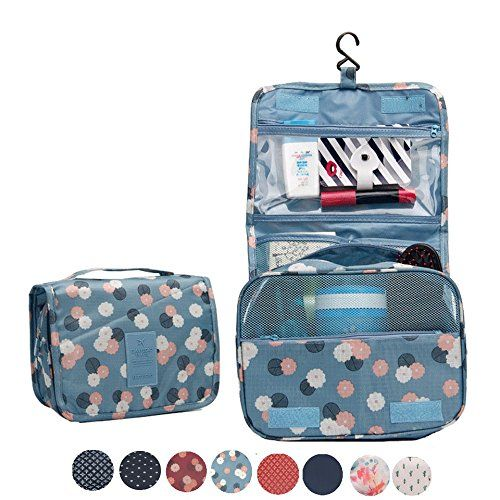 Itraveller Portable Hanging Toiletry Bag/ Portable Travel Organizer Cosmetic Bag for Women Makeup or Men Shaving Kit with Hanging Hook for vacation (Blue Flower). For product & price info go to:  https://beautyworld.today/products/itraveller-portable-hanging-toiletry-bag-portable-travel-organizer-cosmetic-bag-for-women-makeup-or-men-shaving-kit-with-hanging-hook-for-vacation-blue-flower/