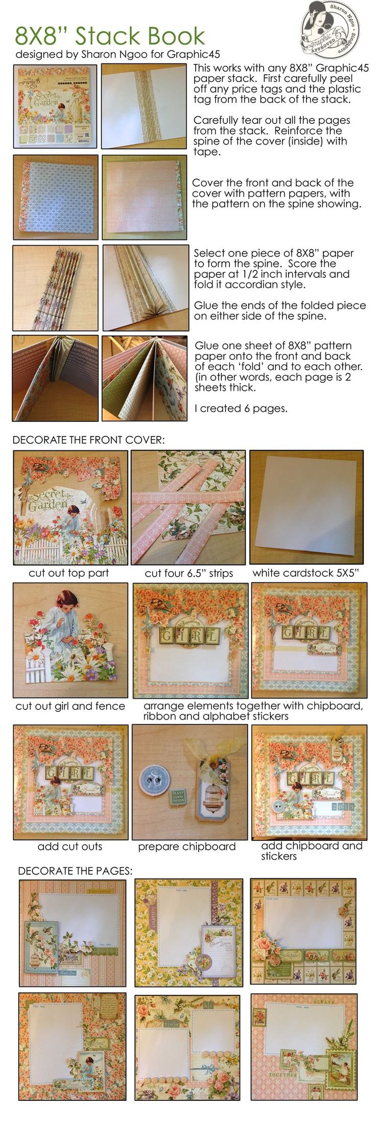 Learn how to make a mini album using this amazing tutorial by Sharon Ngoo! All you need is an 8x8 Secret Garden paper pad. #graphic45 #tutorials