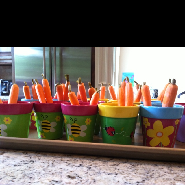Mini flower pots filled with hummus and veggies!! Fun garden party theme