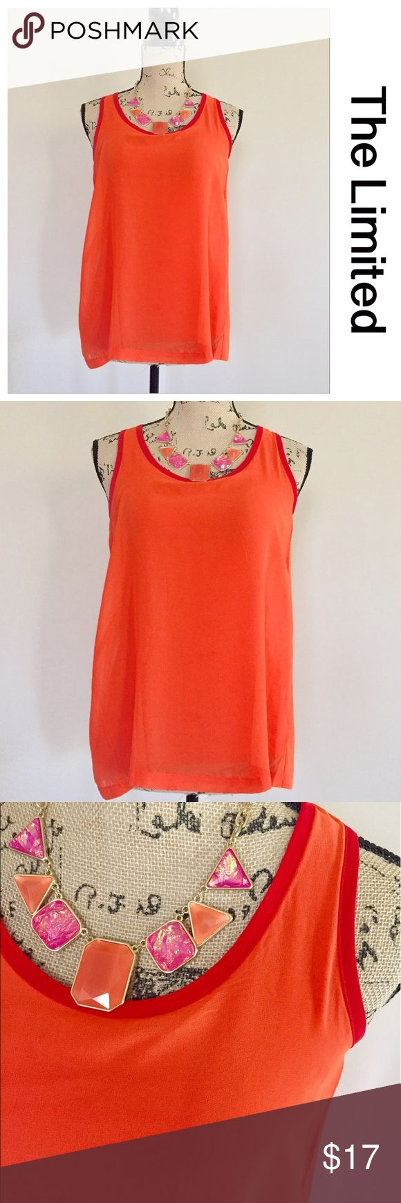 "The Limited split back tank Super cute tank from The Limited has an orange chiffon overlay and a full t-shirt type lining. Red trim around scoop neck and down the split back. Racerback styling. Size XS. Shell is 100% polyester, lining 95% viscose 5% spandex. Excellent condition. Bust measures 16 1/2"", length 24"". The Limited Tops Tank Tops"