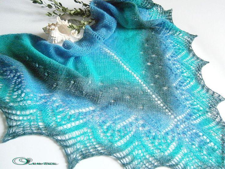 Купить Море-море... Шаль ажурная из Кауни вязаная спицами - шаль, шаль вязаная