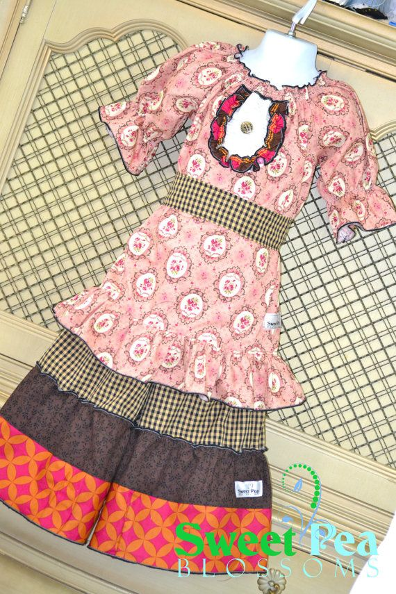 Girls Brianna Peasant Dress with Willa Wide by SweetPeaBlossoms, $52.00