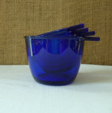 VINTAGE Cobalt Blue Glass Measuring Cup Set by Poppycbrilliant,