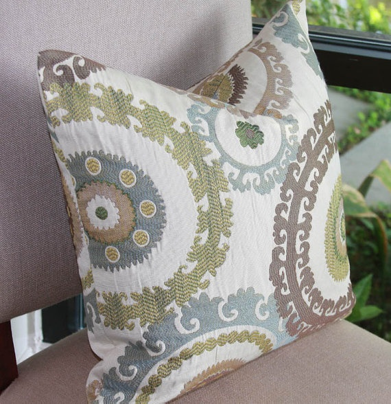 Blue and Green Pillow / Brown / Cream / Suzanni Print Pillow Cover / 18x18 Colors, Blue and ...