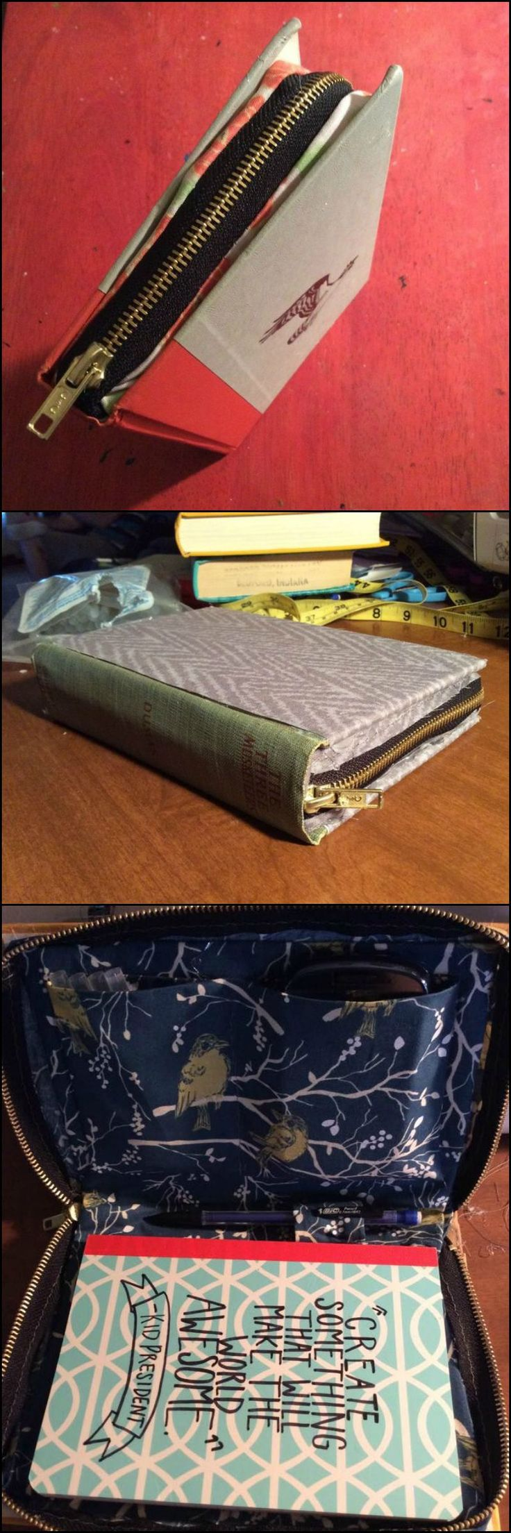 Learn How to Turn Old Hardbound Books into Zippered Clutches  http://craft.ideas2live4.com/2015/09/04/turn-hardbound-books-into-clutches-with-zipper/  Use it to store makeup for girls or everyday travel necessities for men. Or use it as a notebook and pencil holder for kids! These also make a great gift kits, where you can put simple gift items...  Do you have some old hardbound books to upcycle? If not, then you better be heading to the thrift store to grab some good-looking books now!