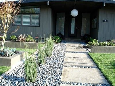 Mid century walkway modern landscape repeating elements Modern front yard landscaping