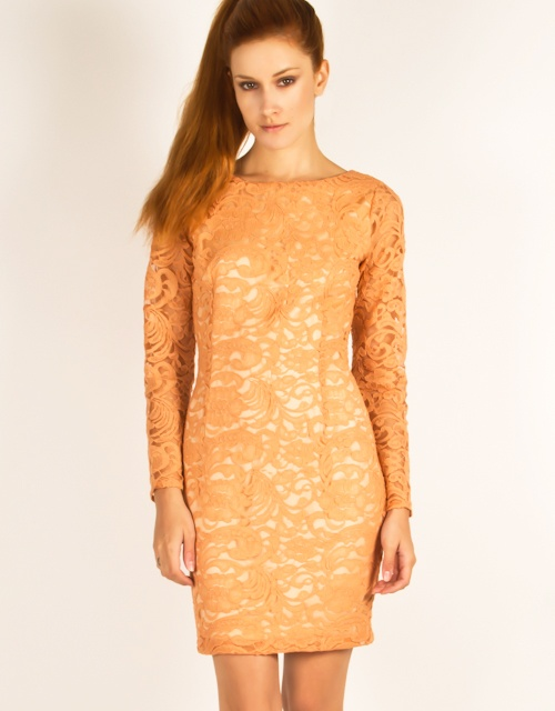 Long sleeve bodycon lace dress, slash neck, linking at the same color as the lace, and zipper closure on the side. #fw13 #fashion #womensfashion #lace #dress