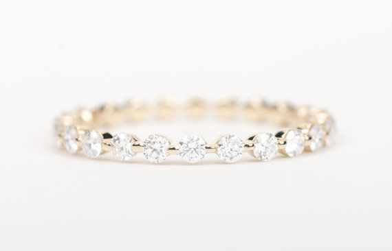 Very Beautiful Diamond band. Delicate & Modern ! Perfect for a wedding band or as stackables. 2/3 Eternity Style (perfectly 2/3 at size 6 US)  Custom