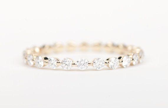 CERTIFIED E-F VVS-VS Diamond Wedding Band 14K by SundariGems