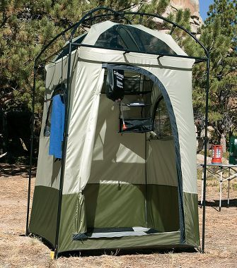 Cabela's: Cabela's Deluxe Shower Shelter. Oh, want this. Granted we're at a new camp every day so this would add to our already lengthy set-up, but a decent set-up to wash is a huge plus (especially for us women).