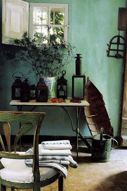 Frederic Mechiche: Wall Colors, Country Cottages, Wall Colour, French Interiors, Window, Green Wall, Paintings Colors, House, Turquoise Wall