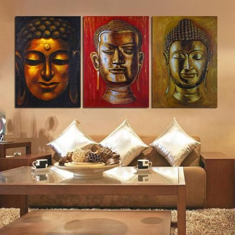 3 panel wall art religion buddha oil style painting printed on canvas room panels for home modern decoration art print pic