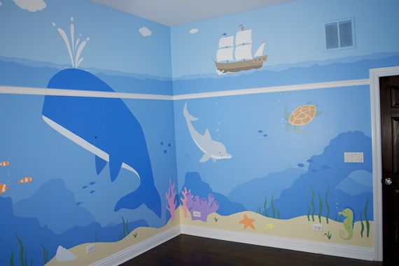 children's whale themed wall mural | Children's Ocean Mural, Kid's Underwater Mural