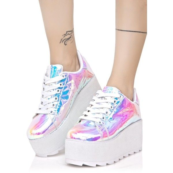Pink Pastel Holographic Platform Sneakers ($140) ❤ liked on Polyvore featuring shoes, sneakers, platform lace up shoes, platform trainers, pastel pink sneakers, pink platform shoes and platform sneakers
