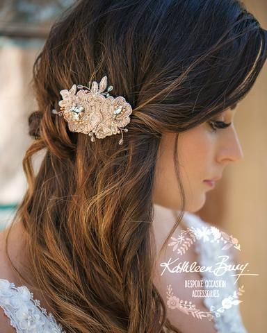 e6b5834617 Talia rose gold lace hairpiece beaded hair accessories bridal hairstyles  wedding ideas best handmade online shopping