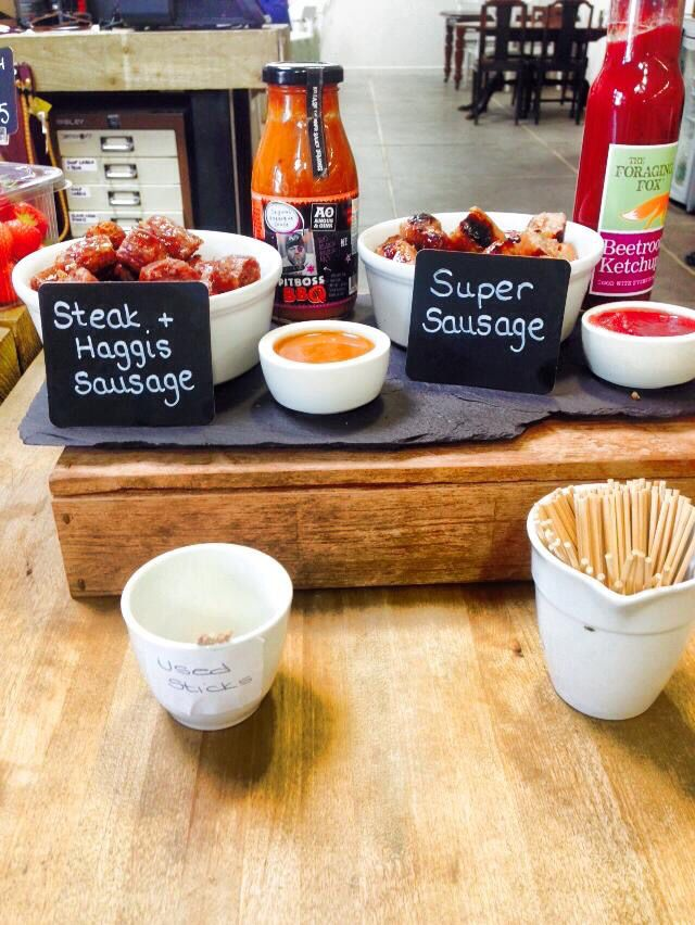 The Foraging Fox Beetroot Ketchup sampling at The Store with a super Sausage!