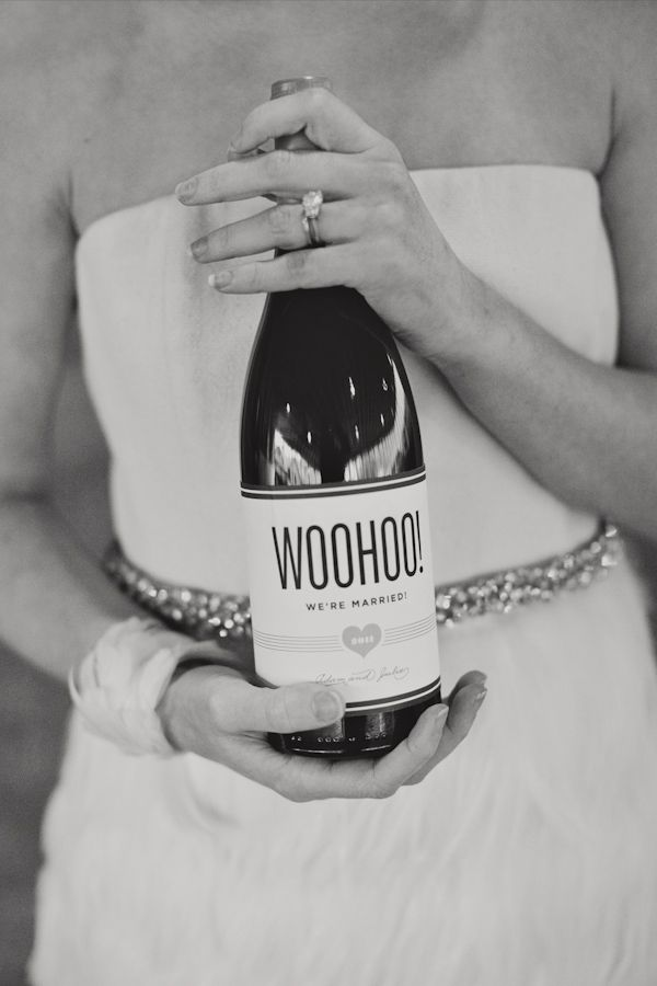 wedding wine label idea: WOOHOO! we're married! Love this idea for a wedding photo