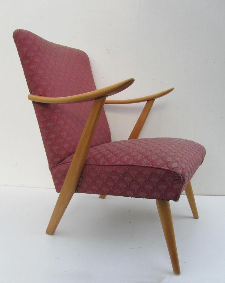 vintage, retro, fauteuil, jaren, 60, houten, frame, stoffen, bekleding