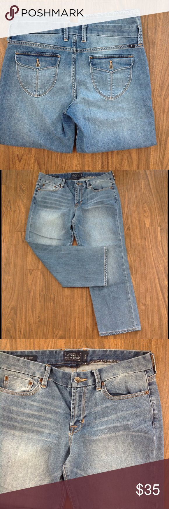LUCKY brand denim SWEET Jean CROP FLAP STRETCH 30 Lucky brand denim jeans CROP. Size 30. Sweet jeans crop style. Stretch. Flap pockets. Logo on back. Zipper fly. Good preowned condition. Please look at all pictures before you purchase. Have any questions just ask. Thanks! Lucky Brand Jeans Ankle & Cropped