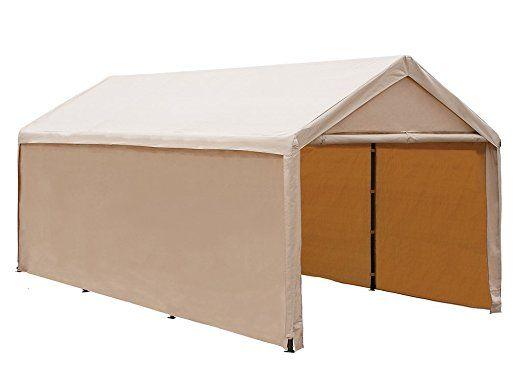 Abba Pátio 10x20 ft Heavy Duty Bege Domínio Carport, Shelter Car Canopy versátil com paredes laterais