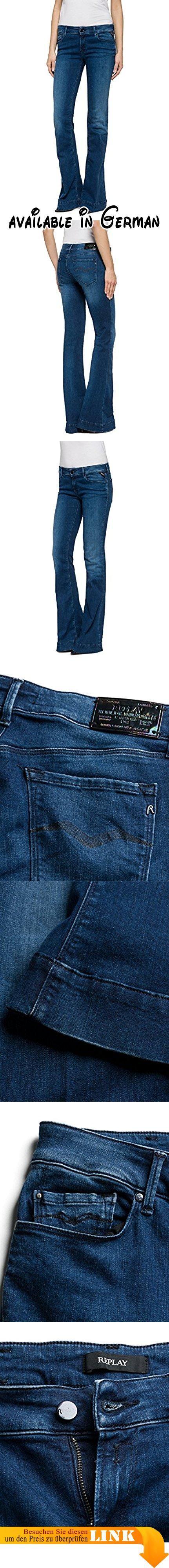 Replay Damen Schlag Jeanshose TEENA, Gr. W32/L34 (Herstellergröße: 32), Blau (Blue Denim 9). Diese Flared Jeans von Replay sollte in keinem gut sortierten Kleiderschrank fehlen. Die Hose ist an der Hüfte und den Oberschenkeln schmal geschnitten und geht vom Knie an in einen Schlag über. Dank des hohen Stretch-Anteils und ihrer robusten Qualität passt sie sich perfekt an die Haut an. Mit engem Print-Shirt oder Longbluse, High Heels und interessanten Accessoires gelingen