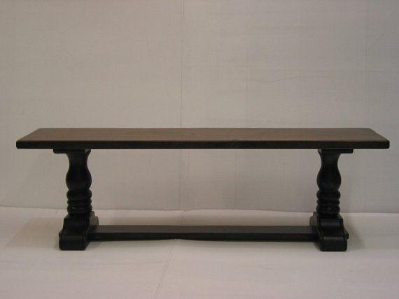 Wooden Bench / Hallway Seat / Trestle Bench by HarvestTreasuresInc