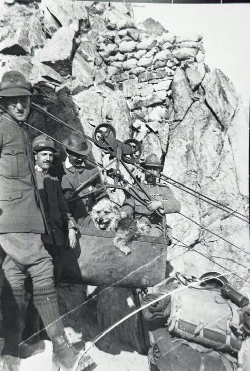 Fronte dolomitico - Teleferica, Alpini e cane