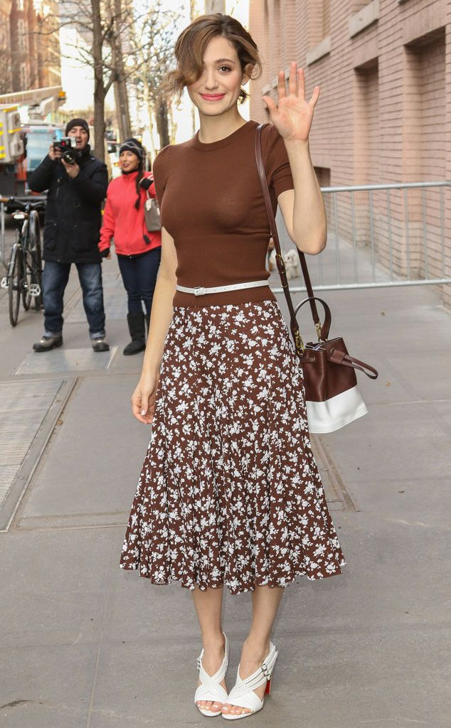 In a Nutshell from Celebrity Street Style  Smile and wave! For an appearance on The View, Emmy Rossum reminds us of her feminine charm in a nutmeg Michael Kors ensemble.