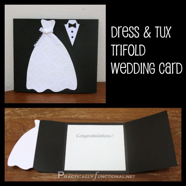 Make your own trifold wedding card; you just need paper and glue!