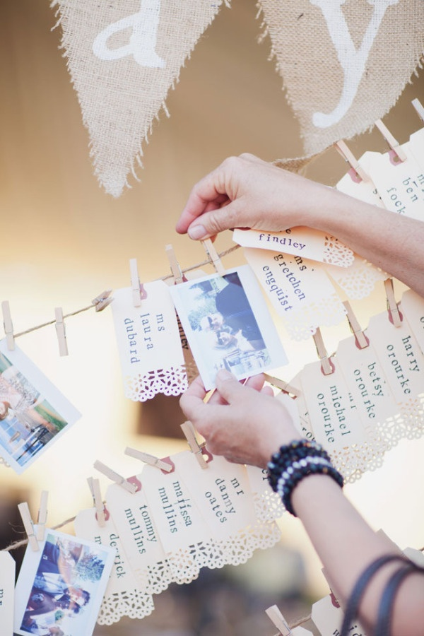 Love this Polaroid picture idea! Each pair/ guest are to take a picture and replace their quest name with the picture