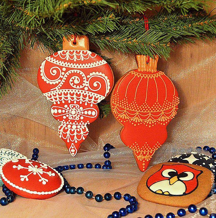 """Купить Пряники новогодние. Пряники новогодние """"Елочные игрушки"""" - пряники новогодние, пряники новый год"""