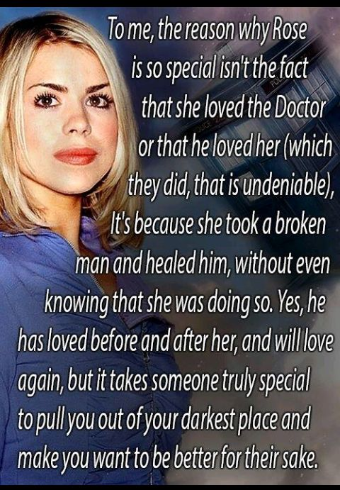 I never really liked Rose but I do respect her role in healing the Doctor and what she meant to him.