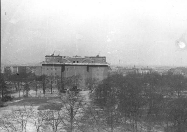 Flak Tower in the distance. BERLIN 1945