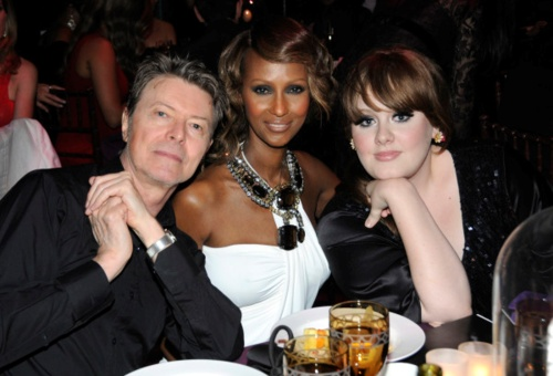 The Joneses, with Adele. This week (March 5, 2012) she'll pass Bowie for total weeks at #1 on the U.K. album charts.