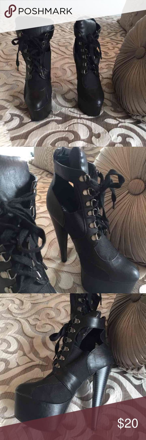 High Heel Stiletto Boots High Heel Stiletto Boots from Shoe Dazzle. Size 8, never worn Shoe Dazzle Shoes Lace Up Boots