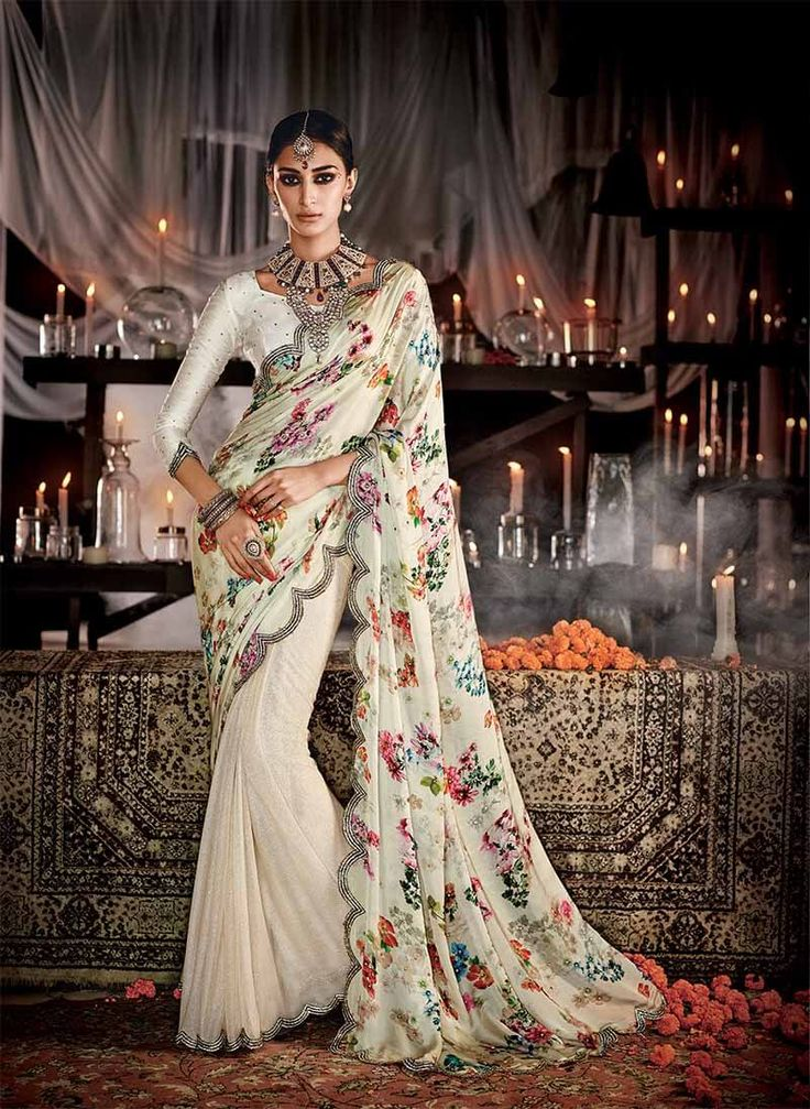 Cream pure satin silk and lycra designer saree with digital print pallu and diamond work border