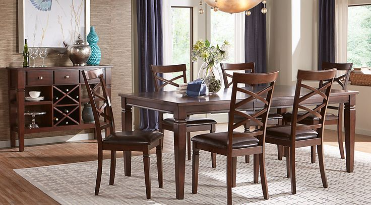 Riverdale Cherry  Pc Rectangle Dining Room
