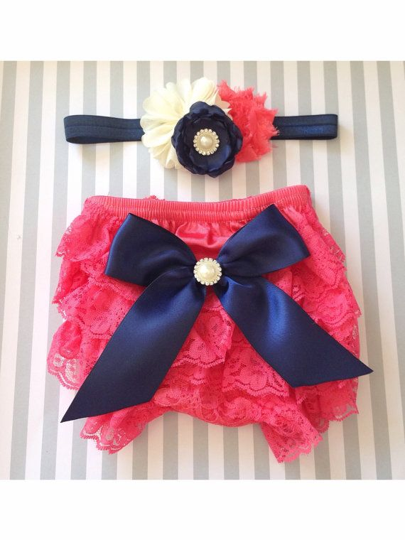 Baby girl lace bloomer set-coral and navy baby by IssaBugsBoutique