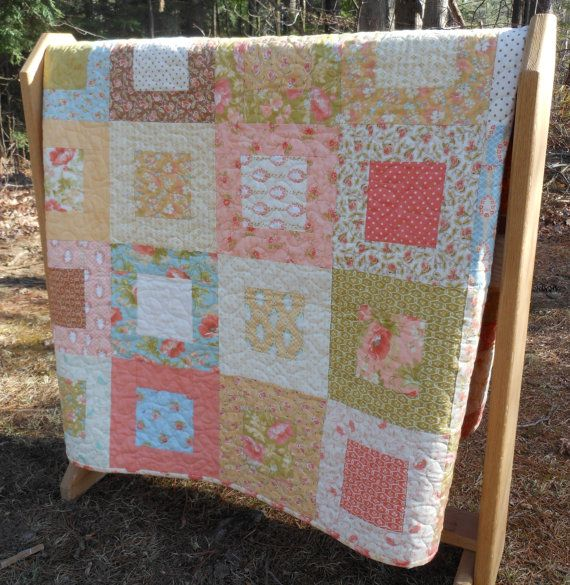 Modern Vintage Lap Or Baby Quilt In Moda Fig Tree Quilts