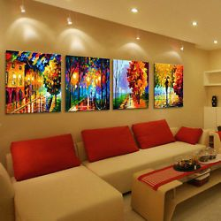 4PC Large Modern hand-painted Art Oil Painting Wall Decor canvas(with Framed)
