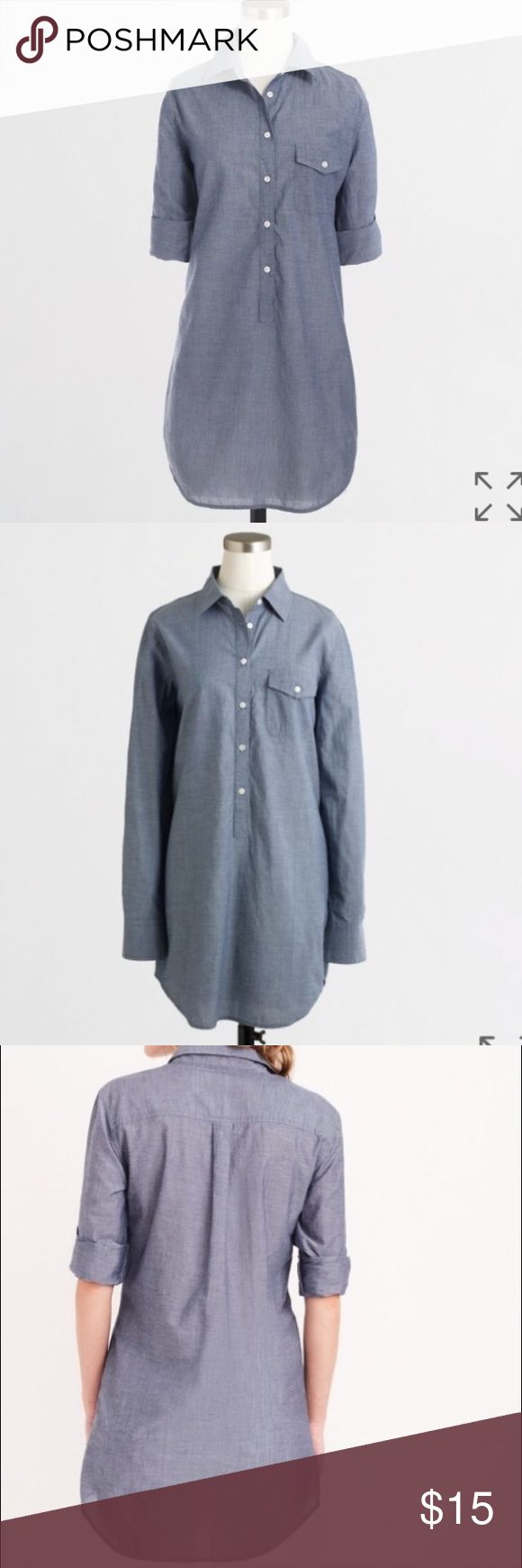 J crew factory popover tunic medium Like new! Worn twice. Sleeves can be rolled and buttoned to stay up or left down J. Crew Factory Tops Tunics