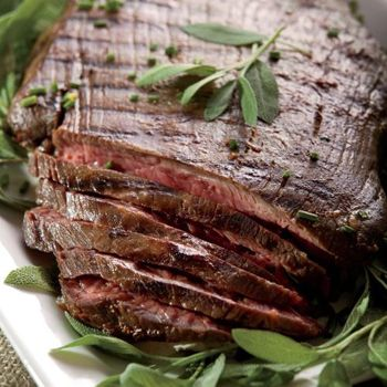 ... flank steak with a marinade featuring soy sauce, honey, vinegar and