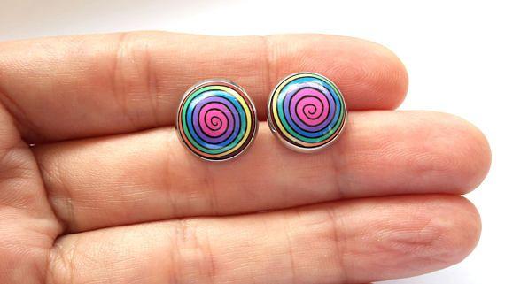 Stud Earrings, Polymer Clay Earrings, Rainbow Studs, Spiral Earrings, Polymer Clay Studs
