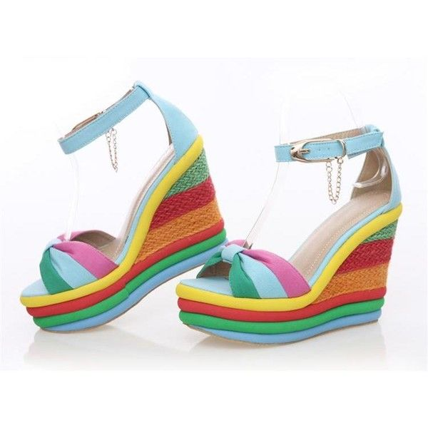 2013 new arrive wedges!women's summer shoes woman, rainbow open toe wedge sandals,orange,blue,neon shoes,Free shipping!FX85 found on Polyvore featuring polyvore, women's fashion, shoes, sandals, heels, wedges, blue sandals, rainbow sandals, blue heeled sandals and wedge sandals
