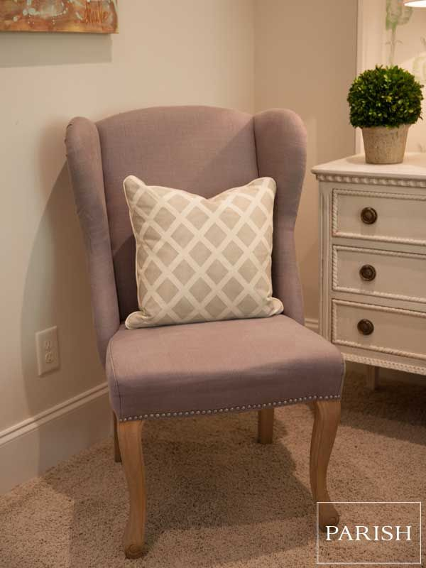Grey Wingback Chairs With Nailhead Detail And White And