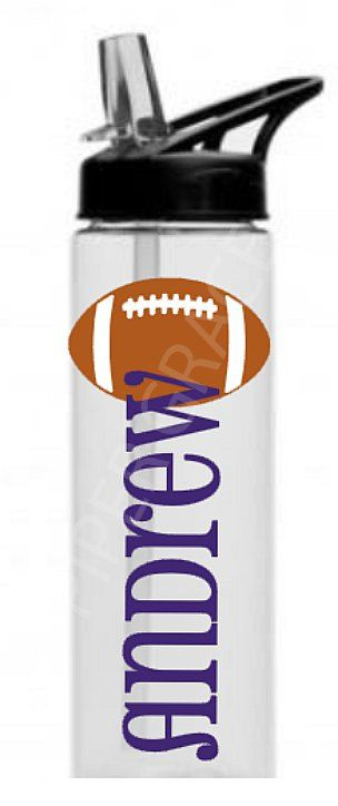Personalized Flip Straw Water Bottle (Black Lid) with Football by PiperGraceGifts on Etsy