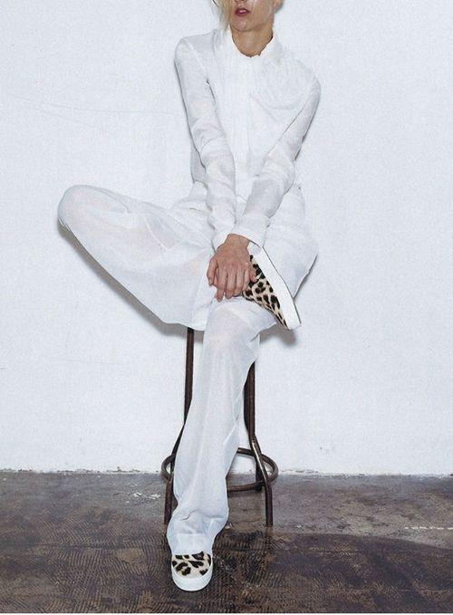 Céline suit and leopard print sneakers