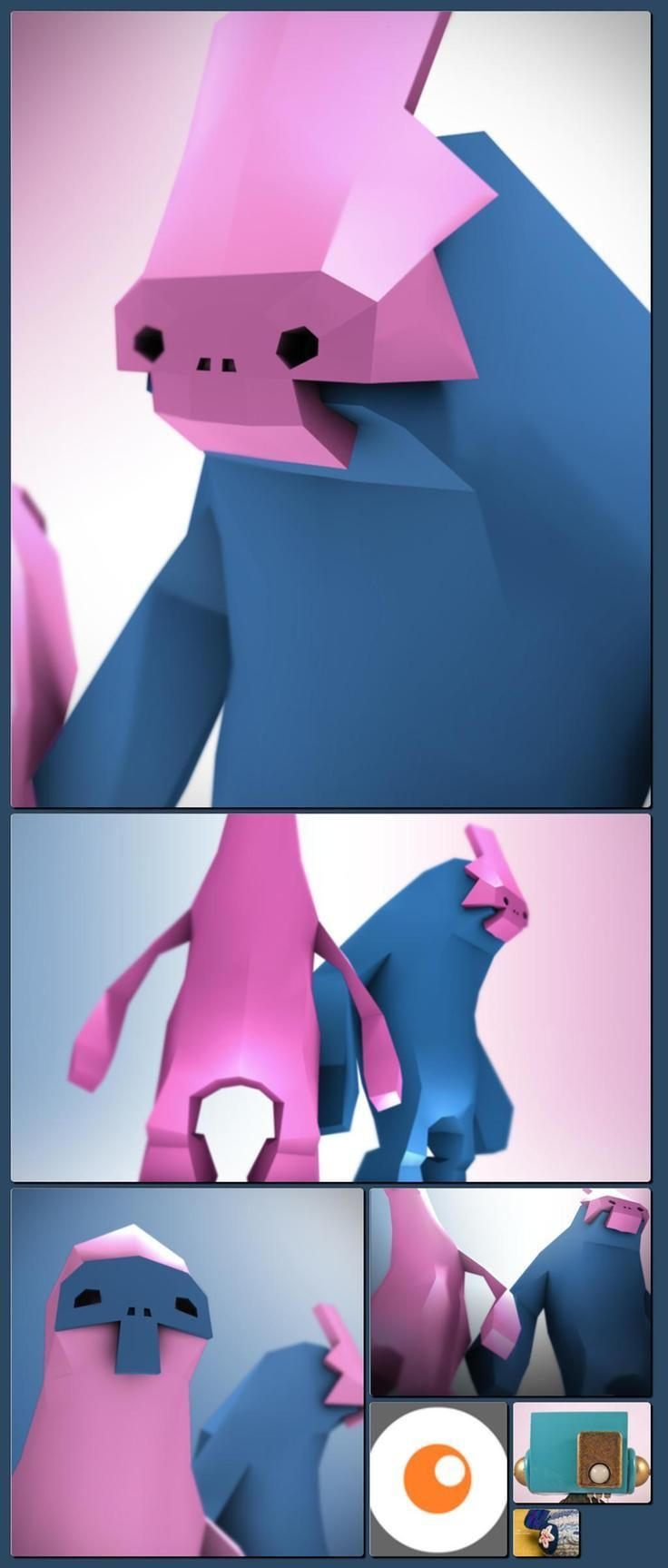 Example of minimal face on a low poly character